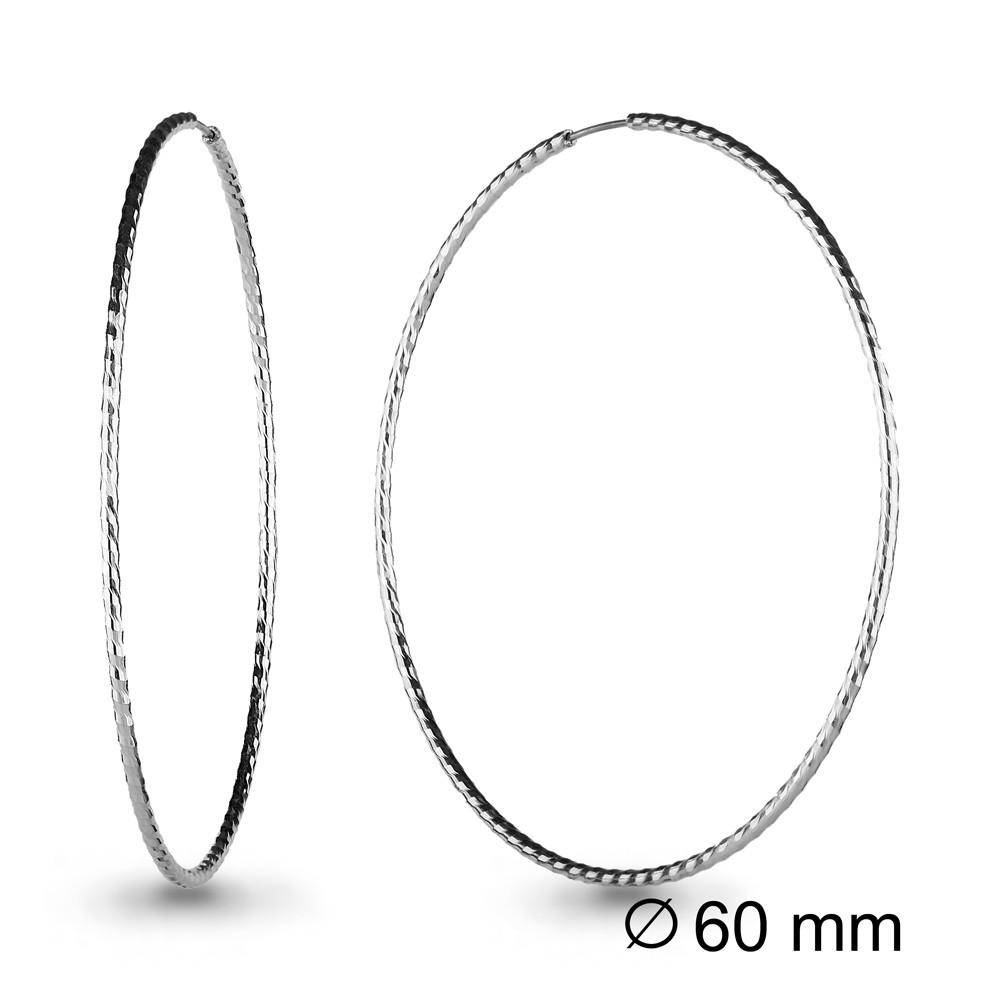 Серебряные серьги-кольца AQUAMARINE (#708659)