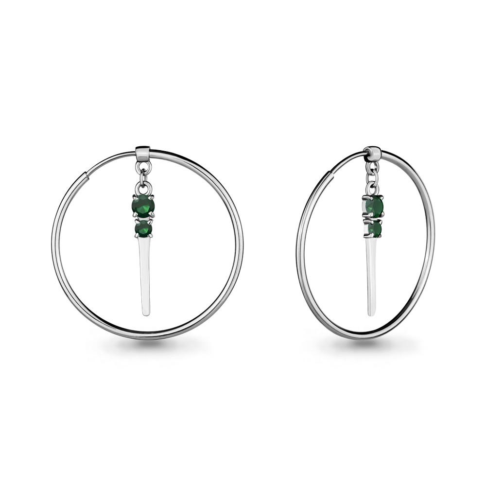 Серебряные серьги-кольца с агатом AQUAMARINE (#675840)