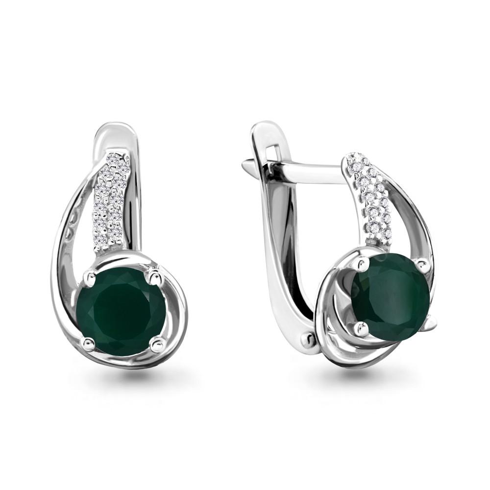 Серебряные серьги-классические с агатом зелёным AQUAMARINE (#698477)