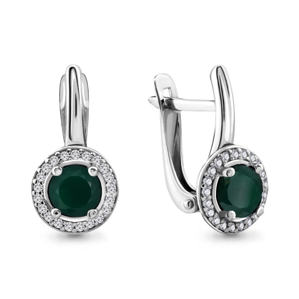 Серебряные серьги-классические с агатом зелёным AQUAMARINE (#690050)