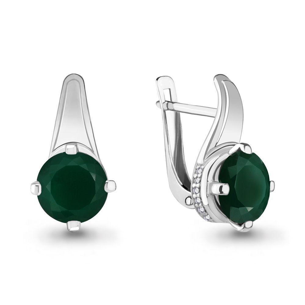 Серебряные серьги-классические с агатом зелёным AQUAMARINE (#488934)
