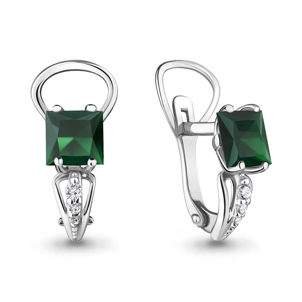 Серебряные серьги-классические с агатом зелёным AQUAMARINE (#687112)