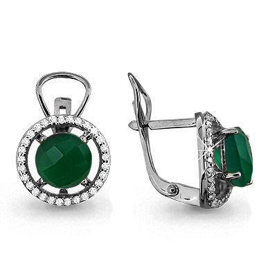 Серебряные серьги-классические с агатом зелёным AQUAMARINE (#702802)
