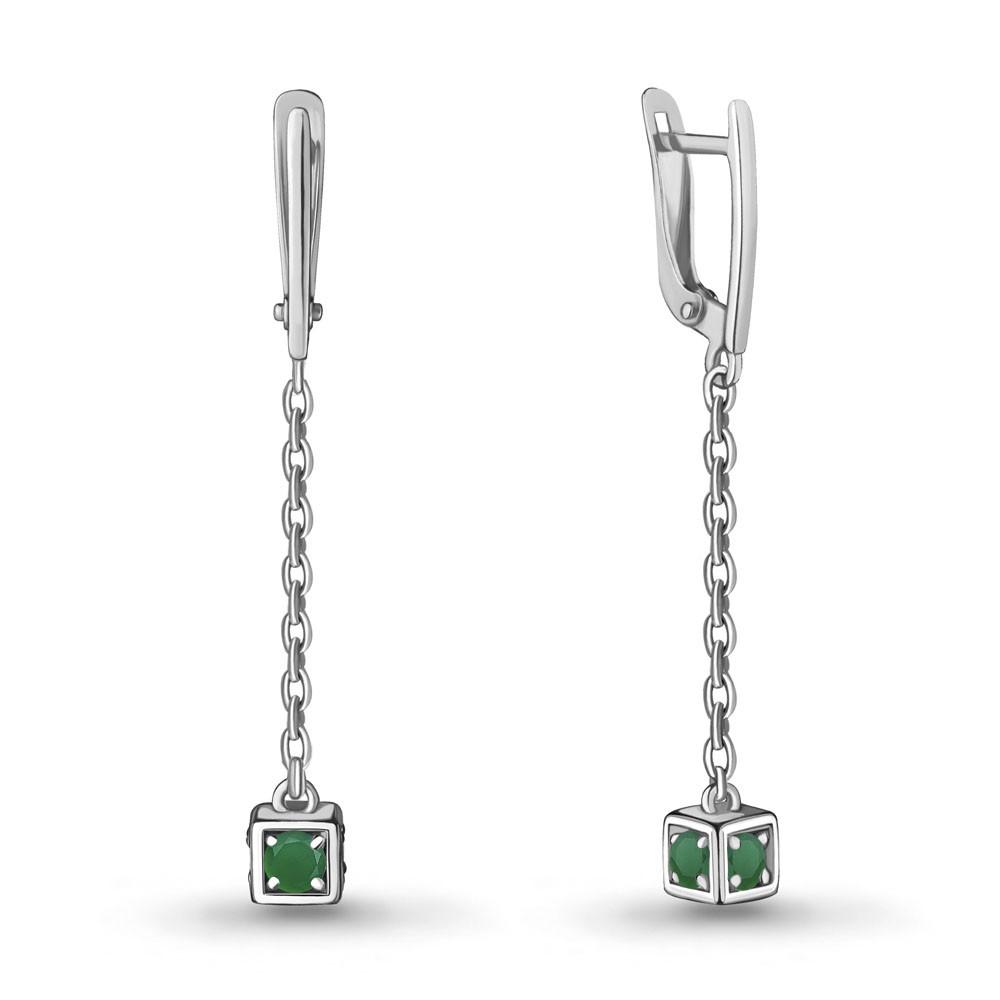 Серебряные серьги-протяжки с агатом зелёным AQUAMARINE (#712934)