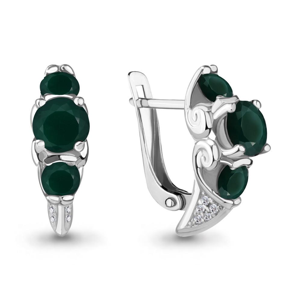 Серебряные серьги-классические с агатом зелёным AQUAMARINE (#704794)