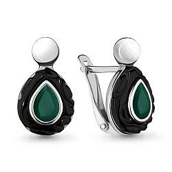 Серебряные серьги-классические с агатом зелёным AQUAMARINE (#709042)
