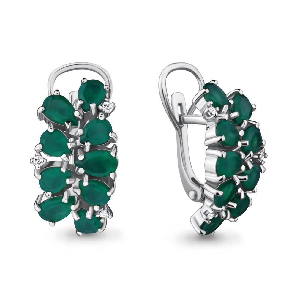 Серебряные серьги-классические с агатом зелёным AQUAMARINE (#712922)
