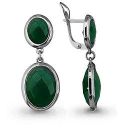 Серебряные Серьги-подвески с агатом зелёным AQUAMARINE (#709010)