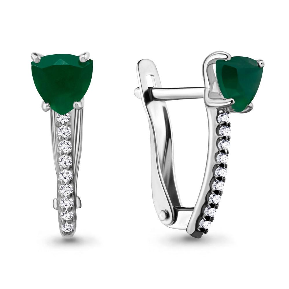 Серебряные Серьги-подвески с агатом зелёным и аметистом AQUAMARINE (#407754)