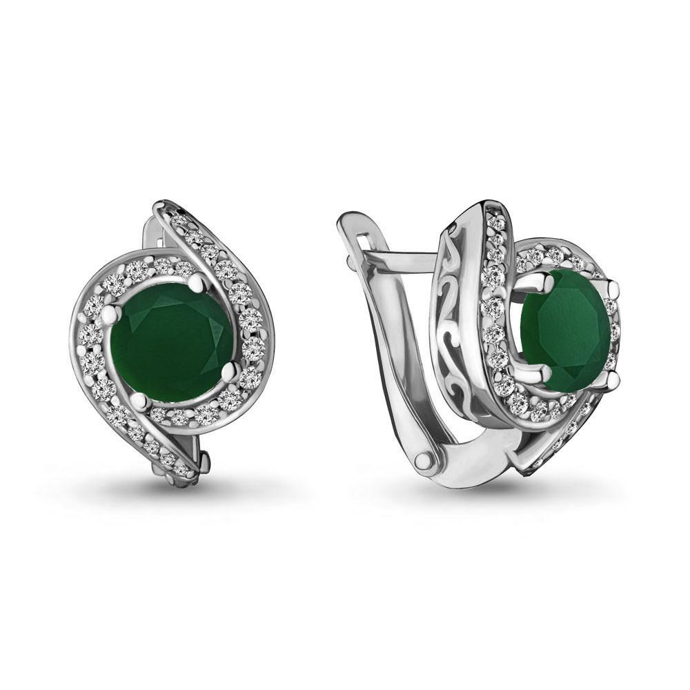 Серебряные серьги-классические с агатом зелёным и фианитом AQUAMARINE (#698472)