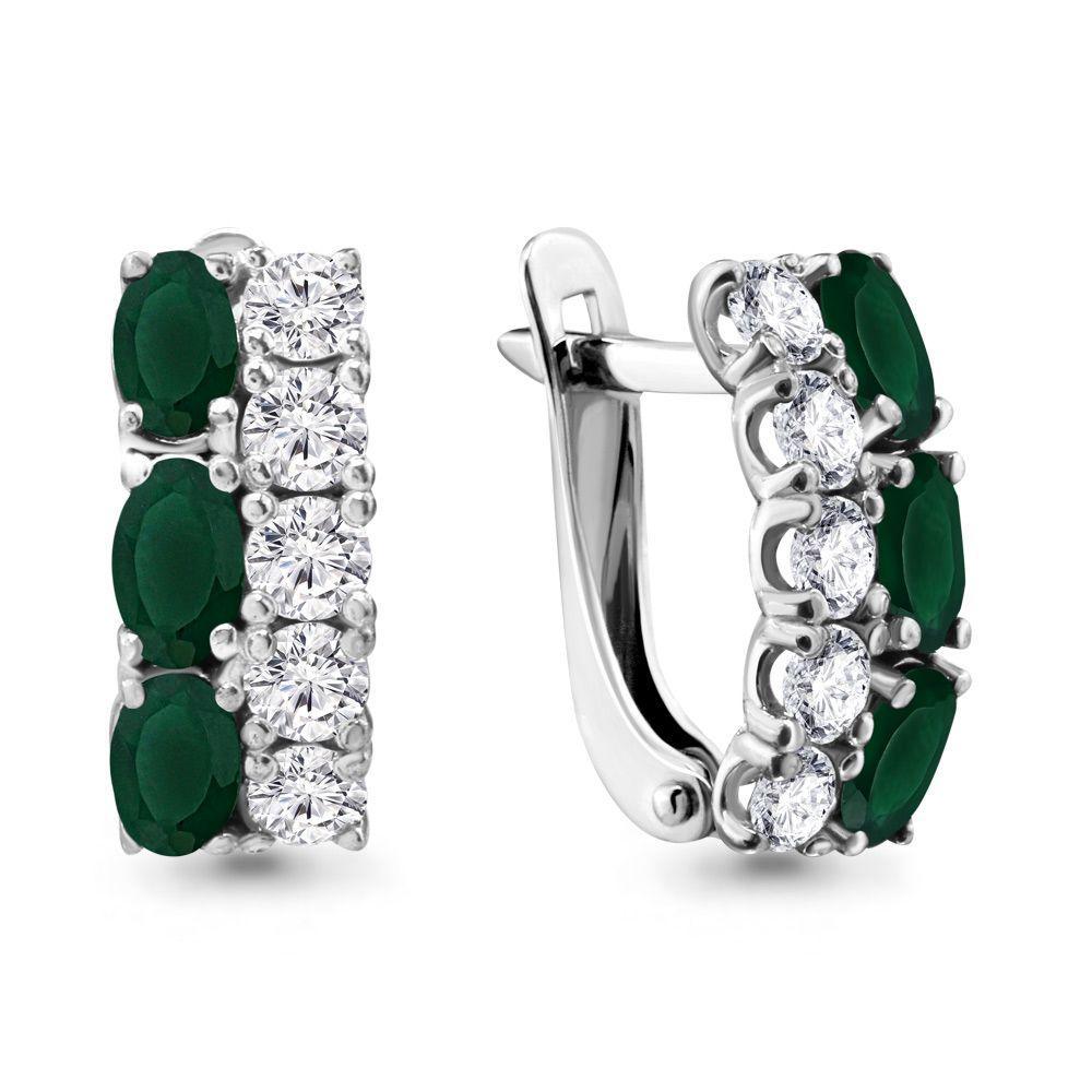 Серебряные серьги-классические с агатом зелёным и фианитом AQUAMARINE (#447724)