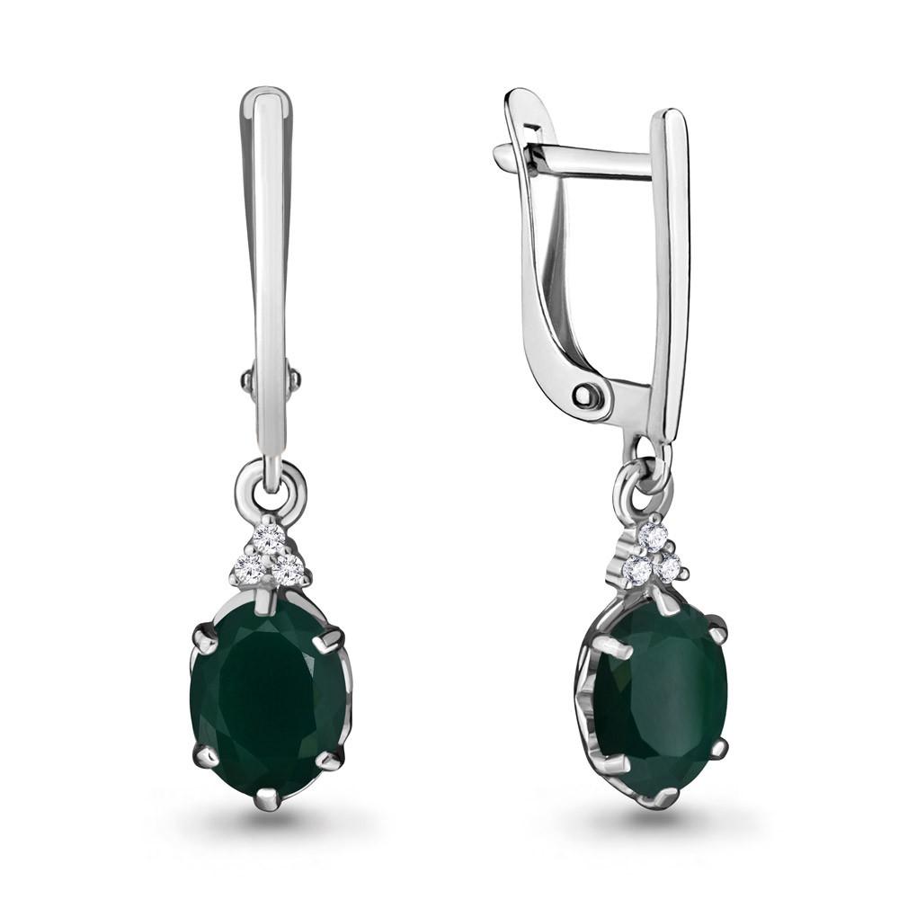 Серебряные Серьги-подвески с агатом зелёным и фианитом AQUAMARINE (#703622)