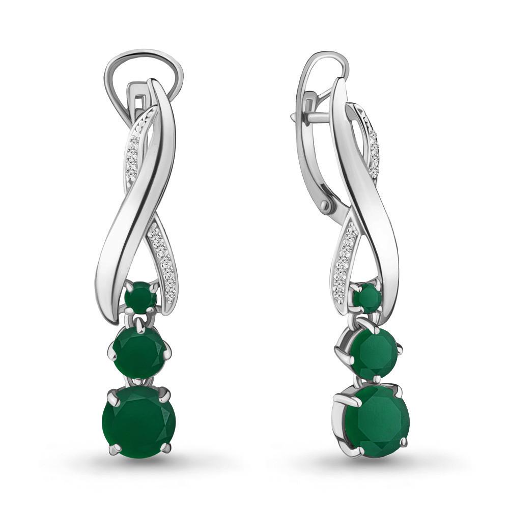 Серебряные Серьги-подвески с агатом зелёным и фианитом AQUAMARINE (#709009)