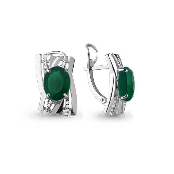 Серебряные серьги-классические с агатом зелёным и фианитом AQUAMARINE (#630549)