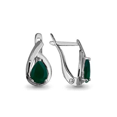 Серебряные Серьги-подвески с агатом зеленым AQUAMARINE (#690045)