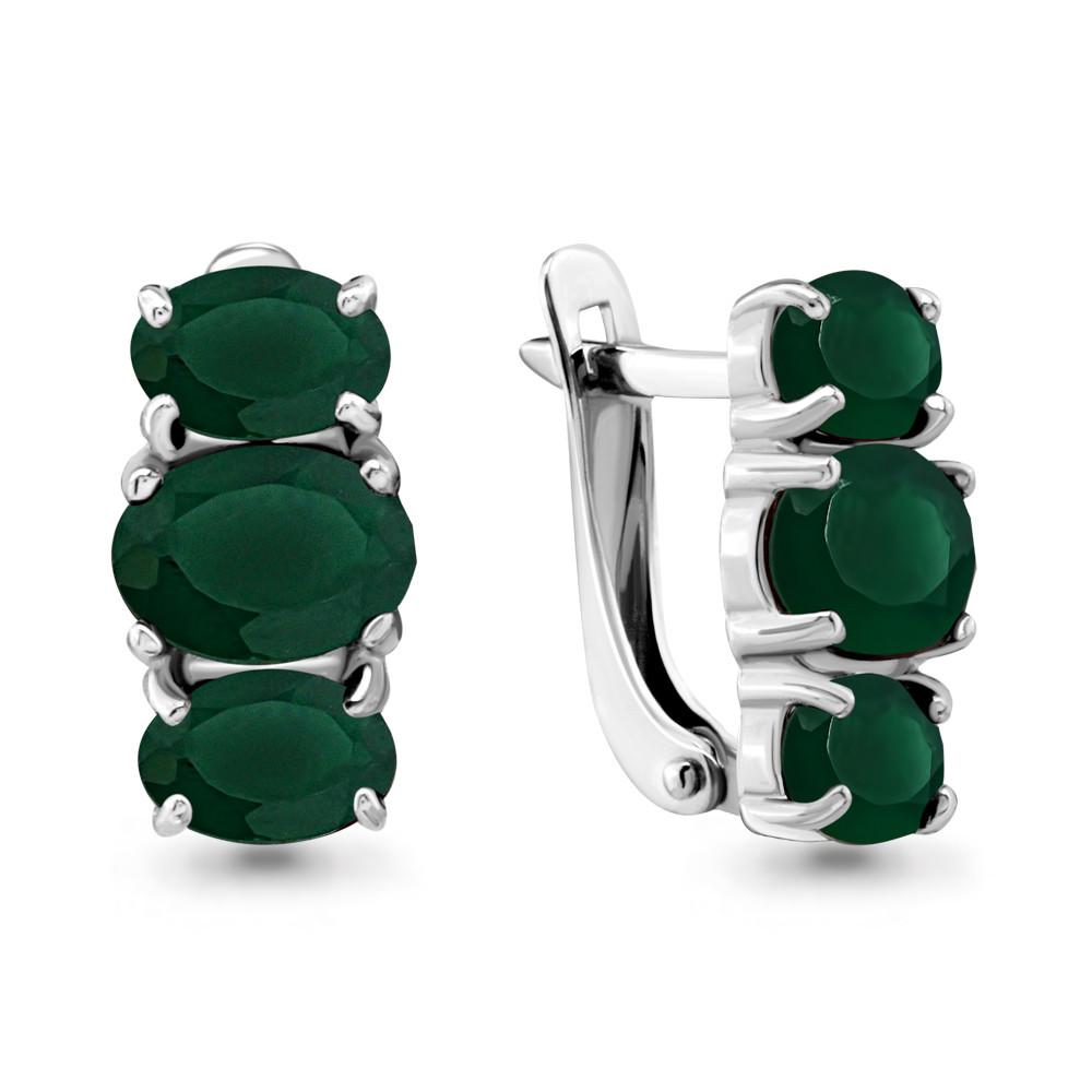 Серебряные серьги-классические с агатом зеленым AQUAMARINE (#647880)