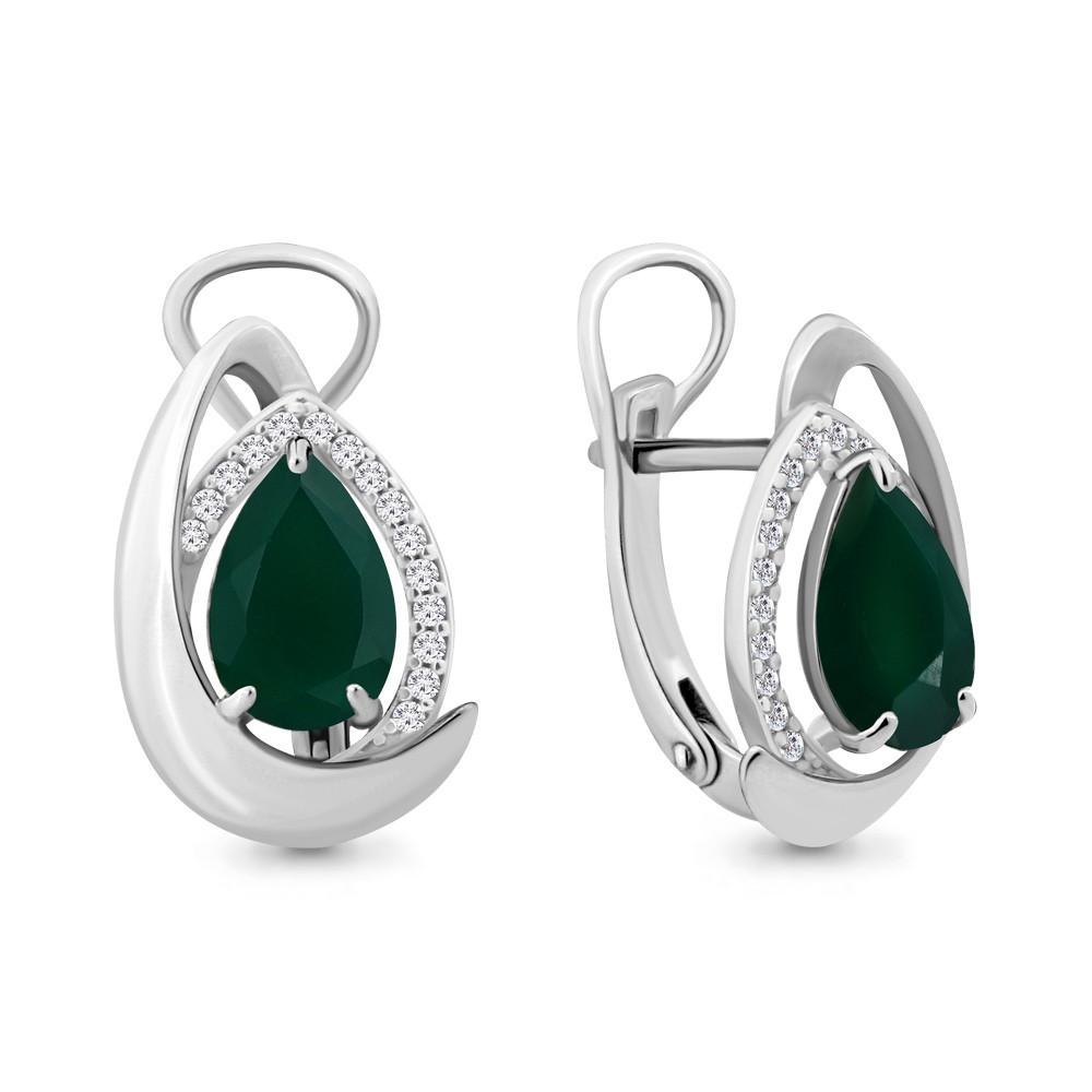 Серебряные серьги-классические с агатом зеленым AQUAMARINE (#657995)