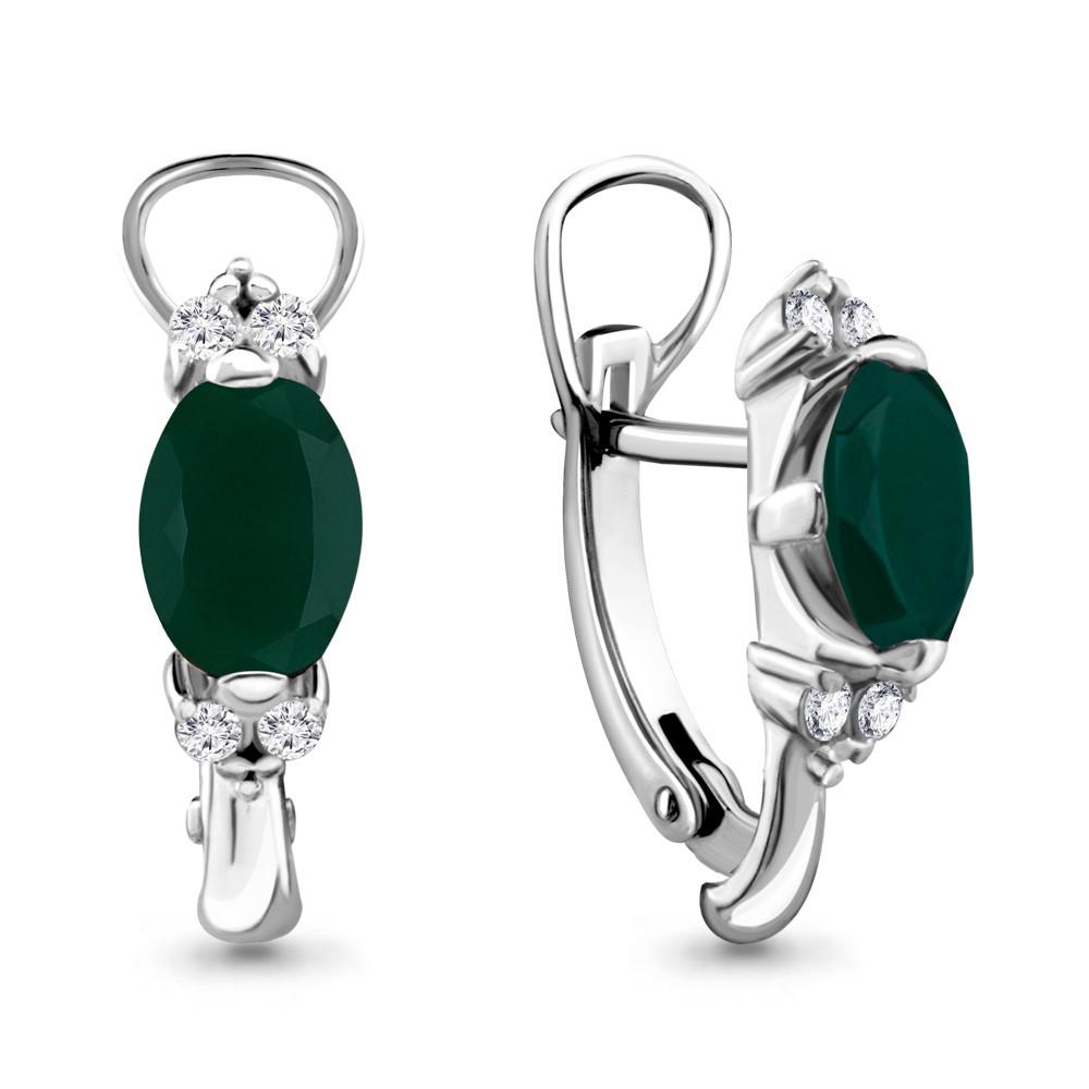 Серебряные серьги-классические с агатом и агатом зелёным AQUAMARINE (#432213)