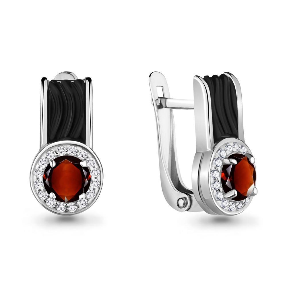 Серебряные серьги-классические с гранатом и фианитом AQUAMARINE (#700300)