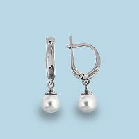 Серебряные Серьги-подвески с жемчугом культ. AQUAMARINE (#653117)