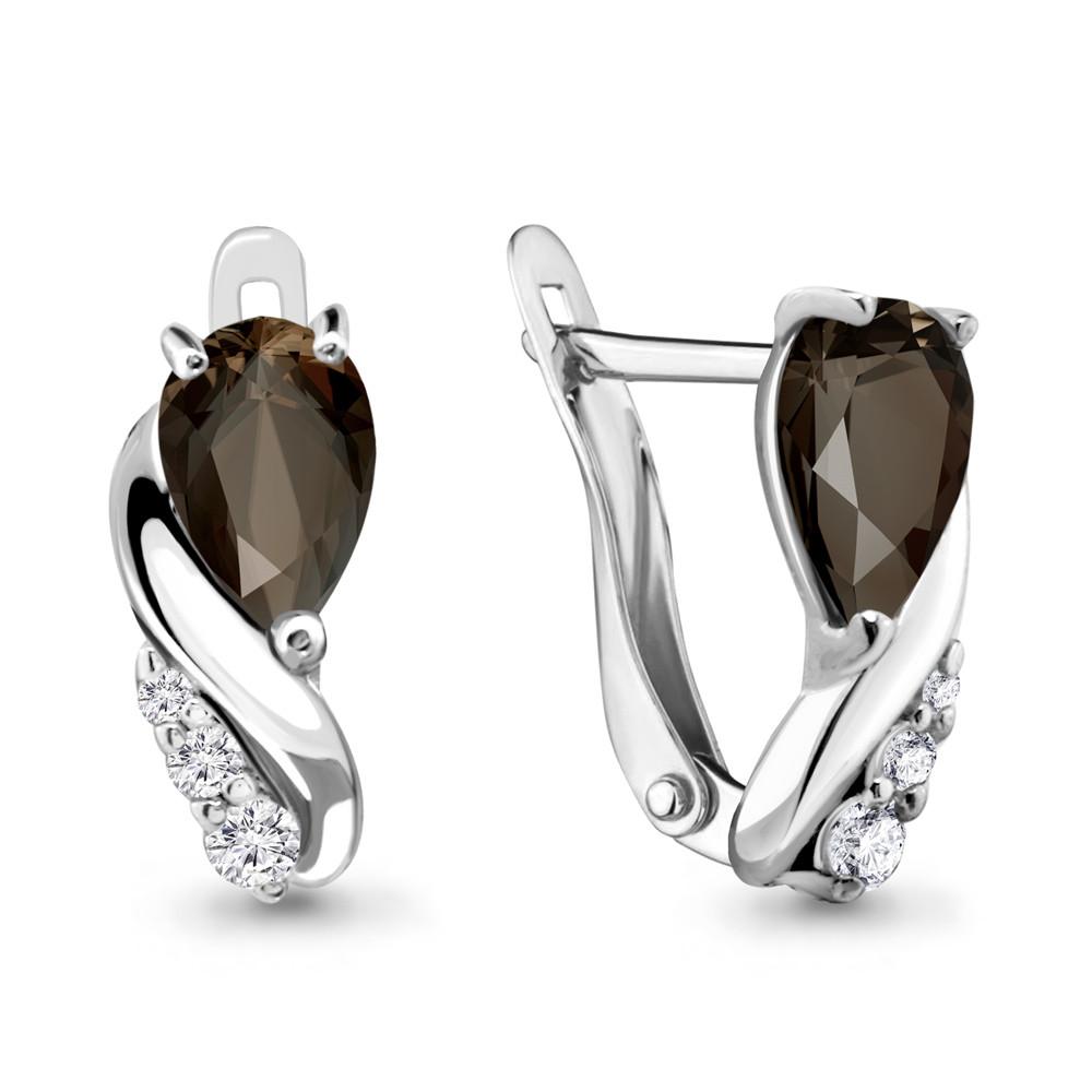 Серебряные серьги-классические с кварцем дымчатым и кварцем AQUAMARINE (#698475)