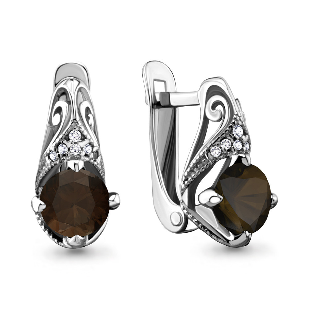 Серебряные серьги-классические с кварцем дымчатым и фианитом AQUAMARINE (#708913)