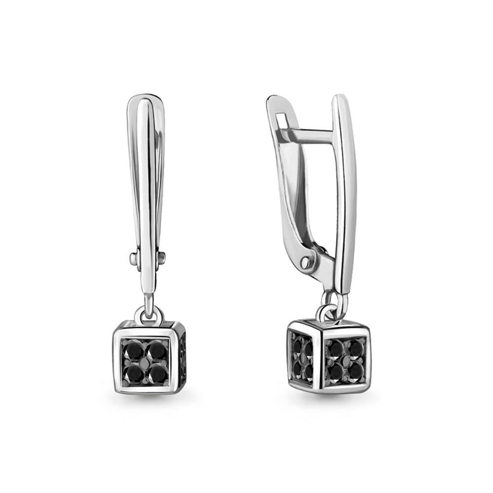 Серебряные Серьги-подвески с нанокристаллом синт. AQUAMARINE (#712504)