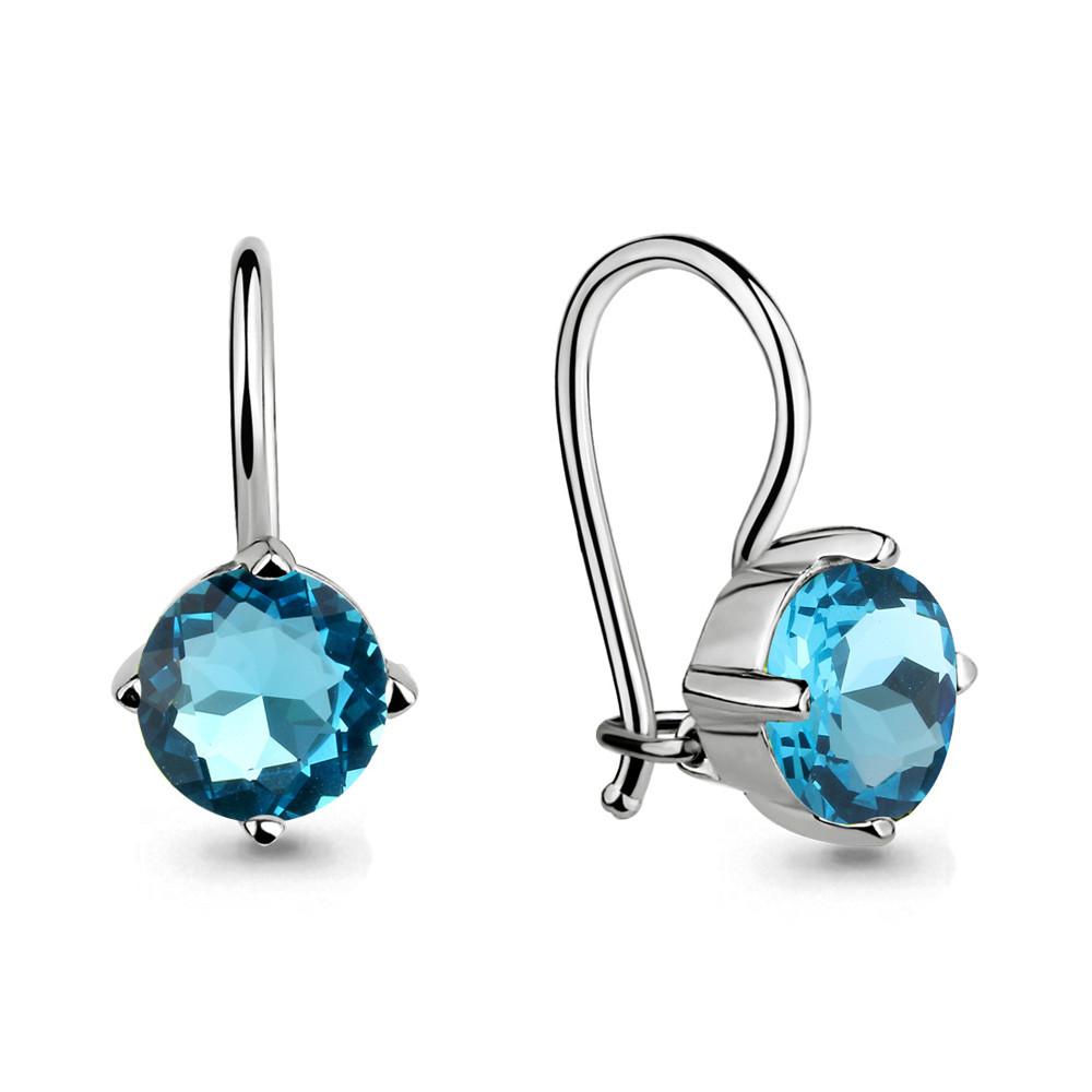 Серебряные Серьги-подвески со стеклом AQUAMARINE (#711601)