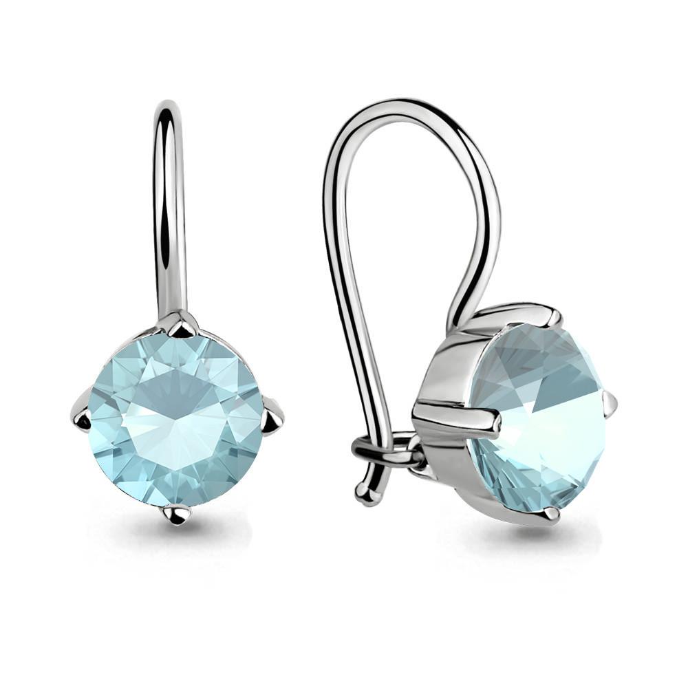 Серебряные Серьги-подвески со стеклом AQUAMARINE (#651976)