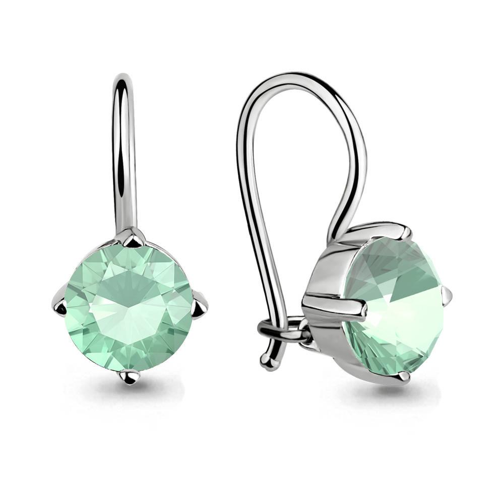 Серебряные Серьги-подвески со стеклом AQUAMARINE (#651975)