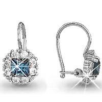 Серебряные Серьги-подвески со стеклом AQUAMARINE (#711579)