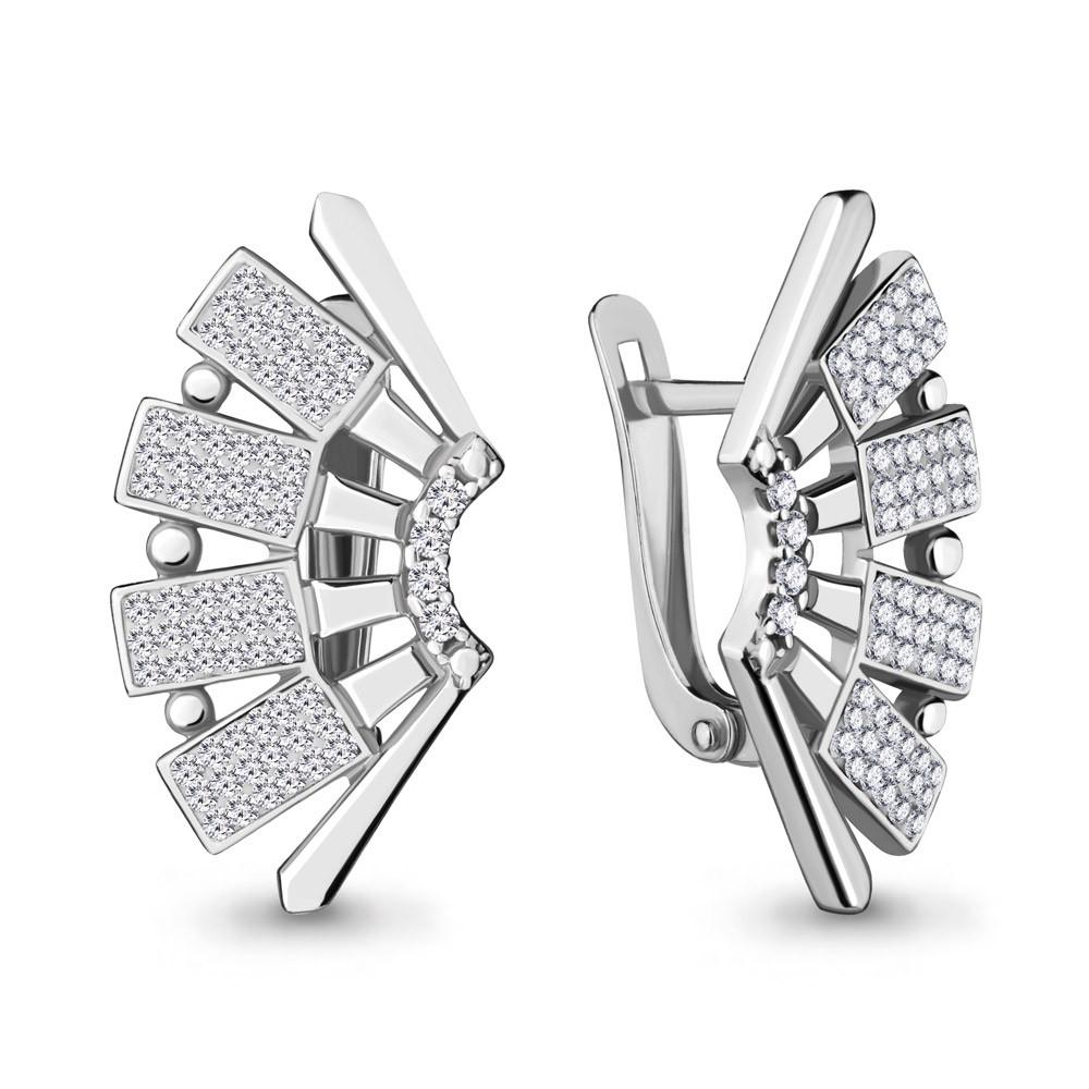Серебряные серьги-классические со стеклом AQUAMARINE (#711902)