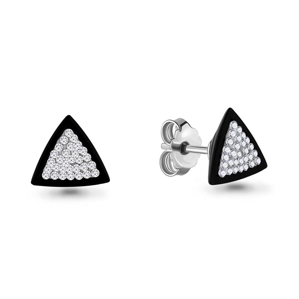 Серебряные серьги-пуссеты со стеклом и керамикой AQUAMARINE (#687397)