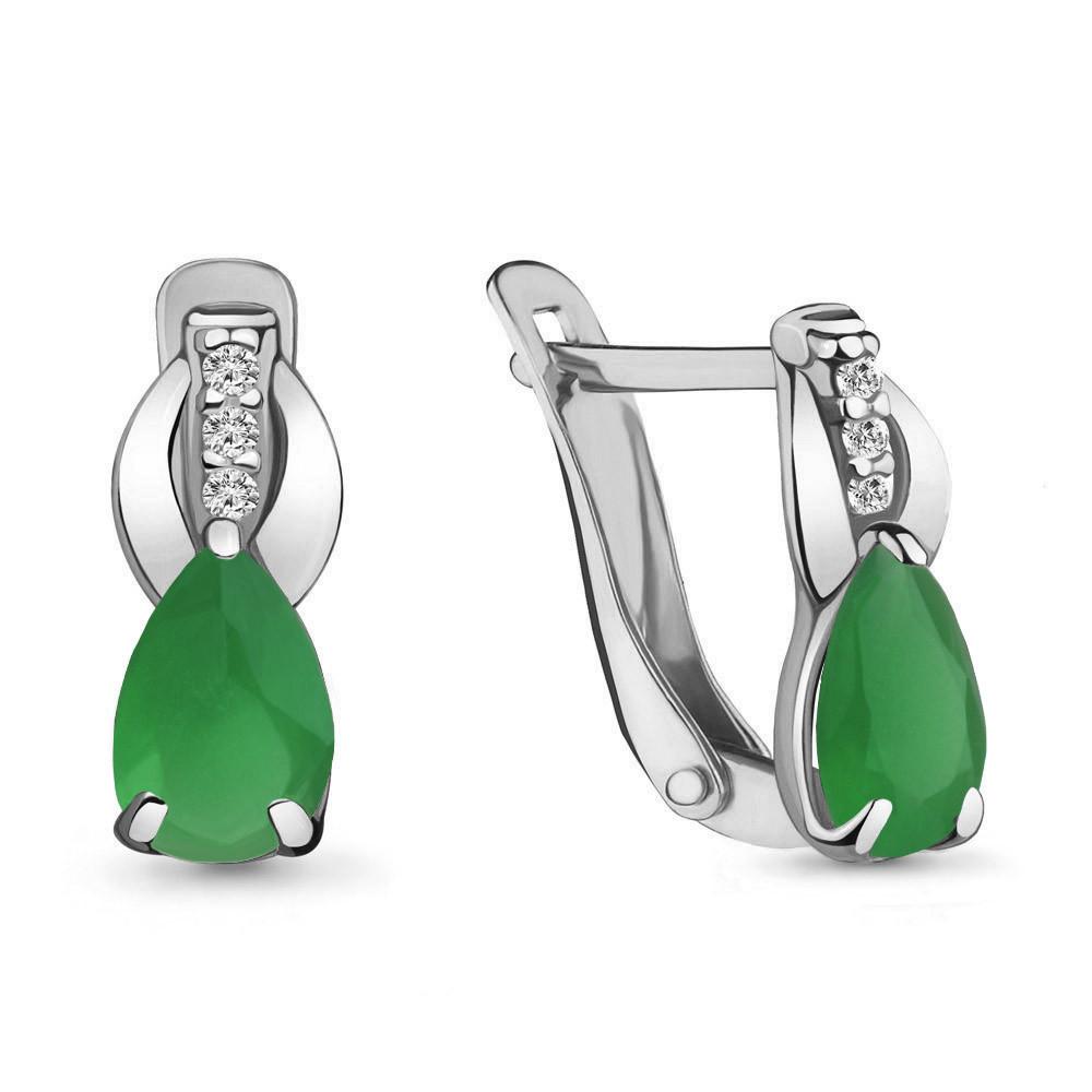 Серебряные серьги-классические со стеклом и фианитом AQUAMARINE (#712268)