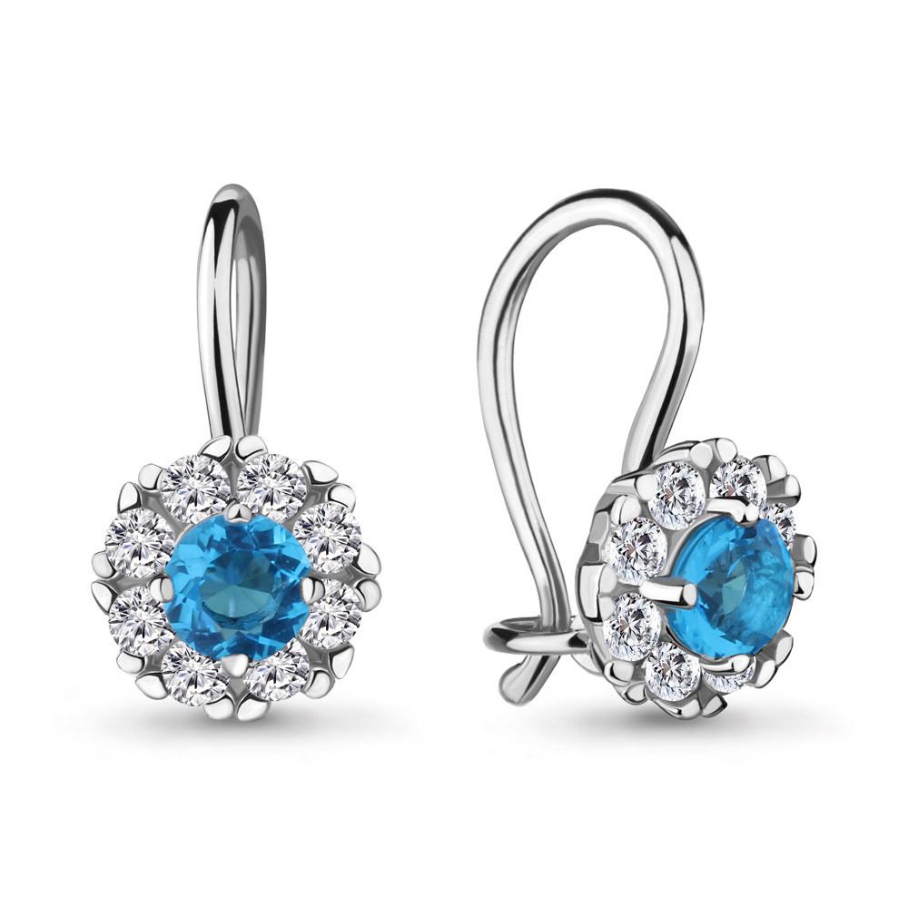 Серебряные Серьги-подвески со стеклом и фианитом AQUAMARINE (#711576)
