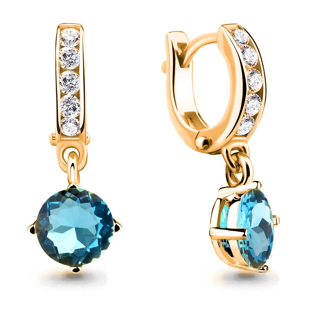 Серебряные Серьги-подвески со стеклом и фианитом AQUAMARINE (#712151)