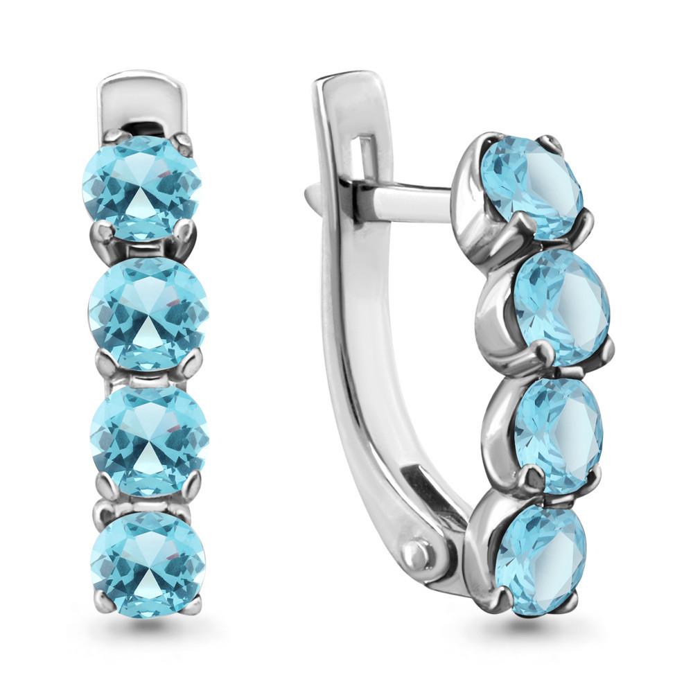 Серебряные серьги-классические с топазом AQUAMARINE (#712919)