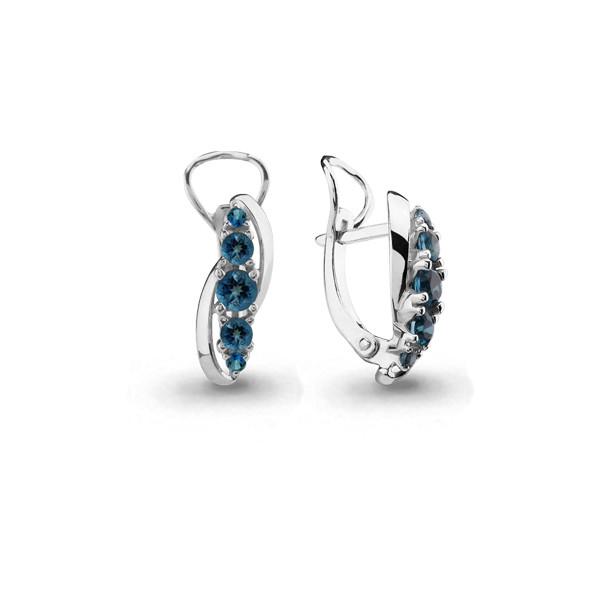 Серебряные серьги с топазом и топазом лондон AQUAMARINE #407666
