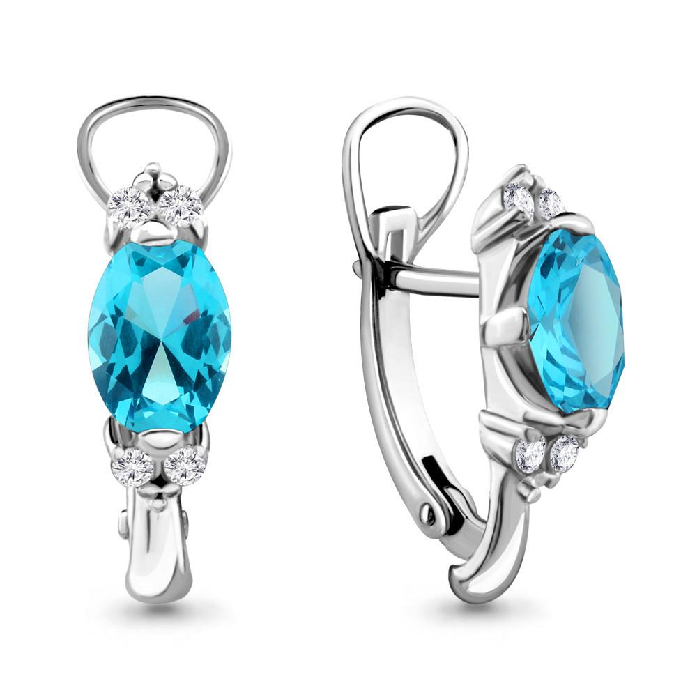 Серебряные серьги-классические с топазом и топазом свисс AQUAMARINE (#432211)