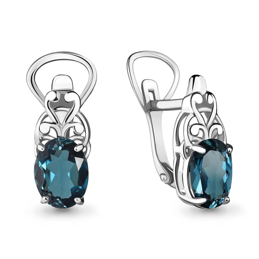 Серебряные серьги-классические с топазом лондон AQUAMARINE (#635856)