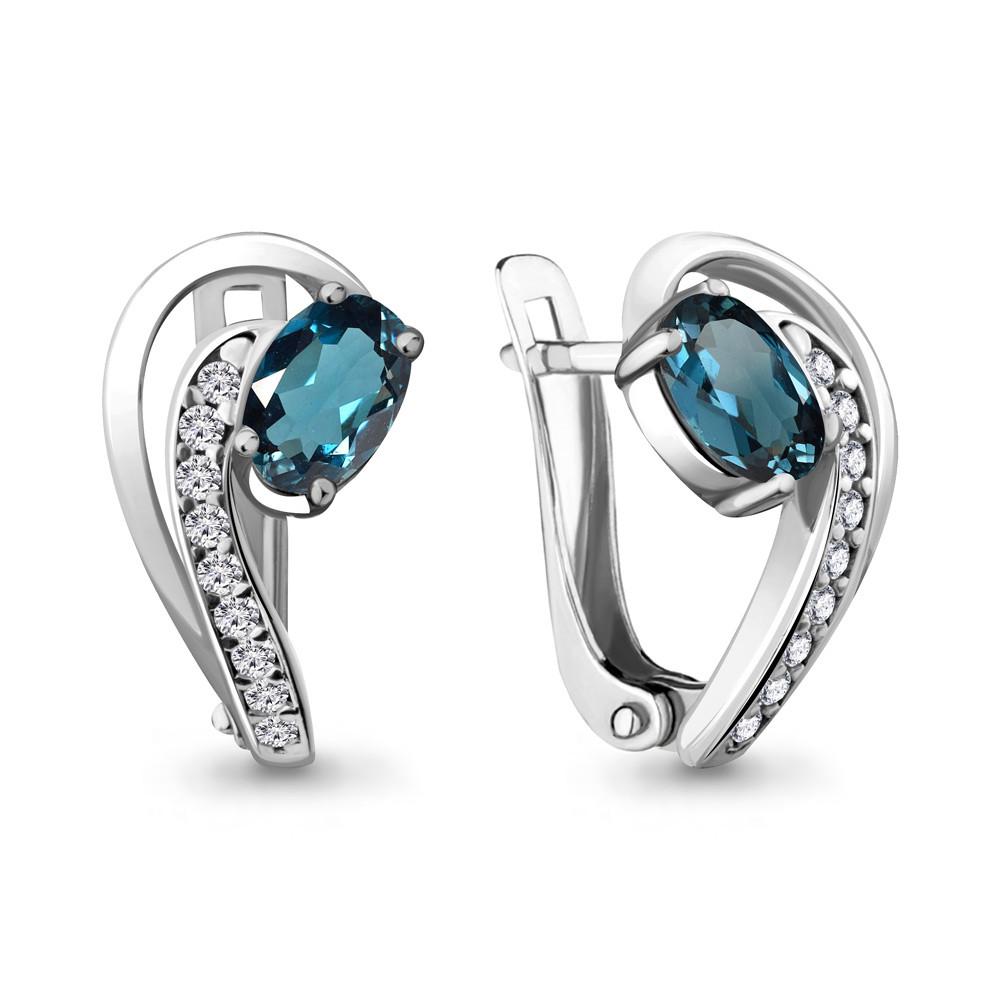 Серебряные серьги-классические с топазом лондон и фианитом AQUAMARINE (#709056)
