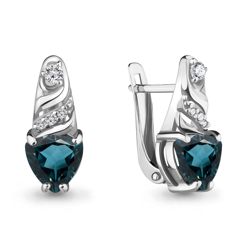 Серебряные серьги-классические с топазом лондон и фианитом AQUAMARINE (#687128)