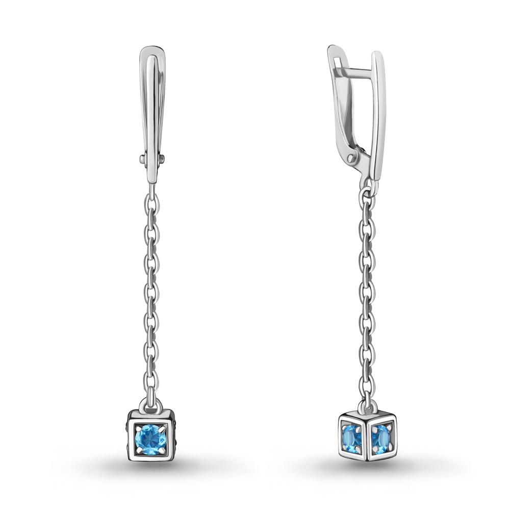 Серебряные серьги-протяжки с топазом свисс AQUAMARINE (#712933)