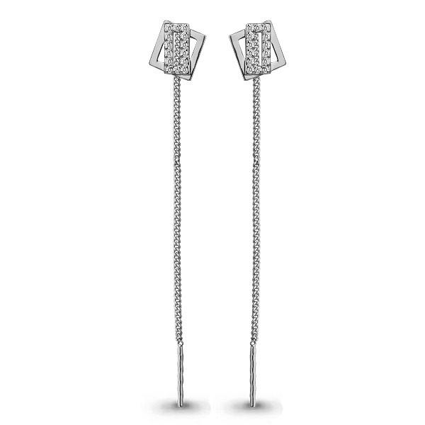 Серебряные серьги-протяжки с фианитом AQUAMARINE (#708702)