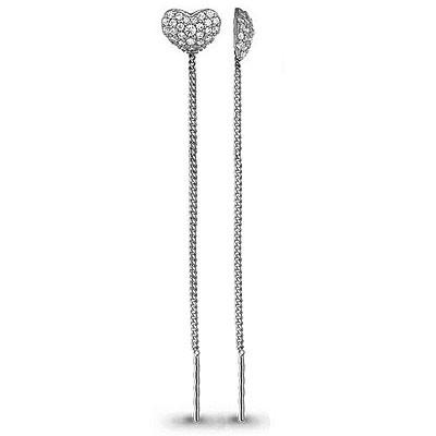 Серебряные серьги-протяжки с фианитом AQUAMARINE (#708603)