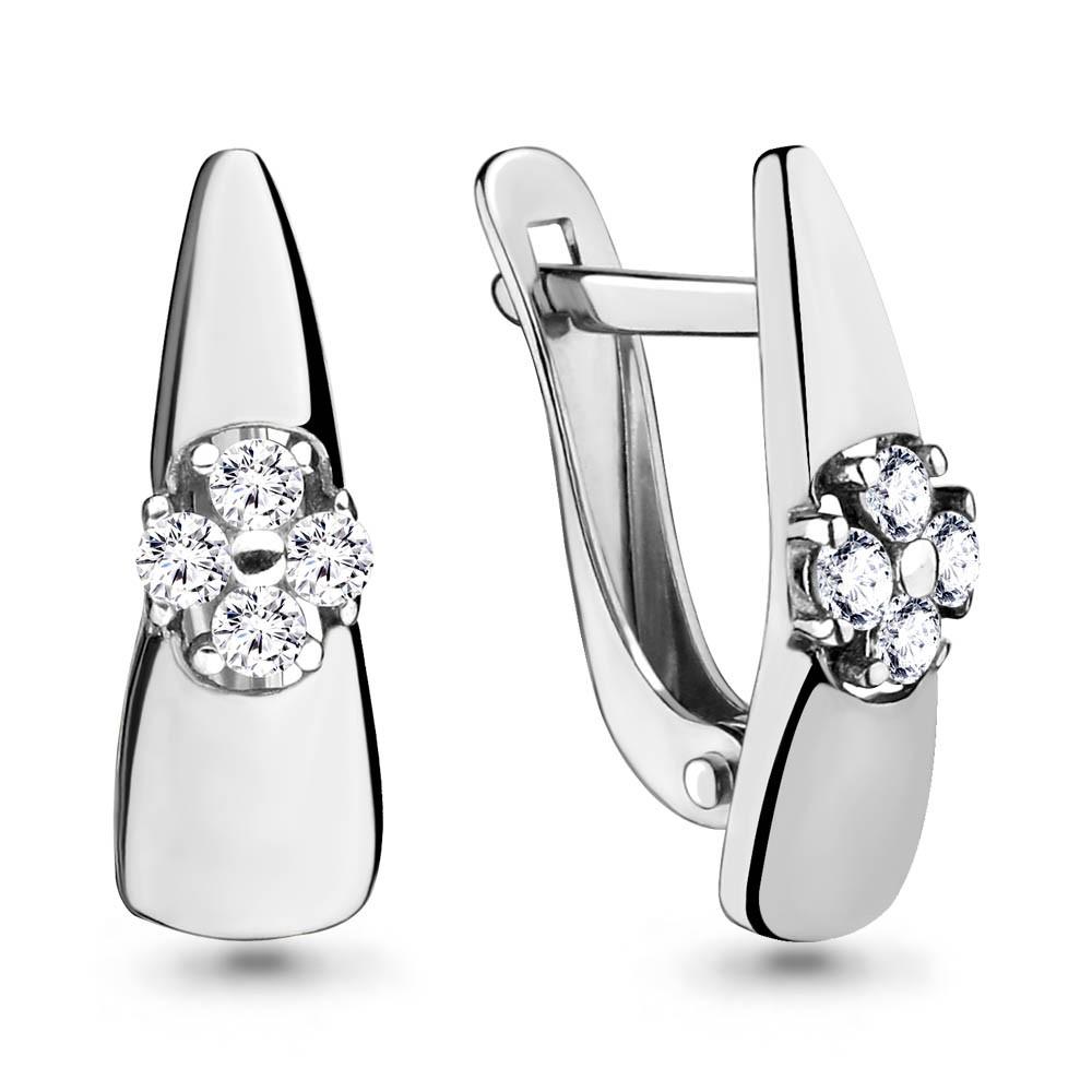 Серебряные серьги-классические с фианитом AQUAMARINE (#650121)