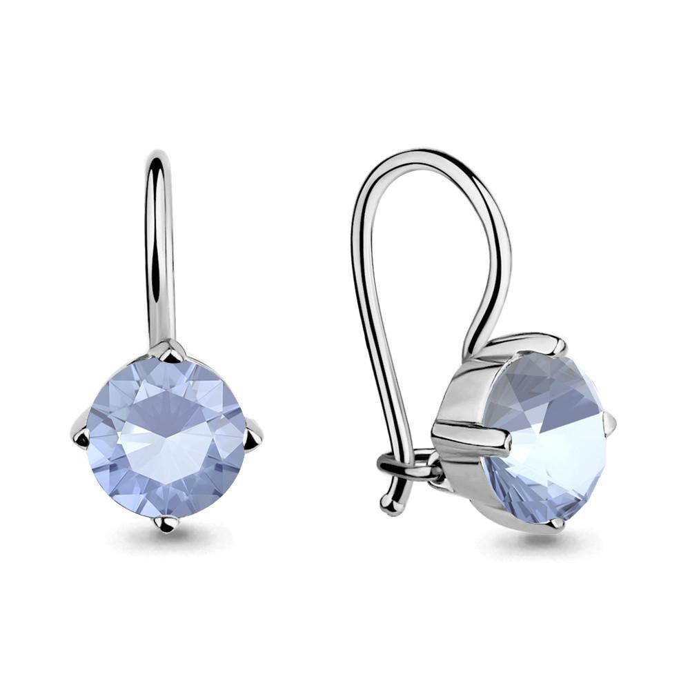 Серебряные Серьги-подвески с фианитом AQUAMARINE (#711602)