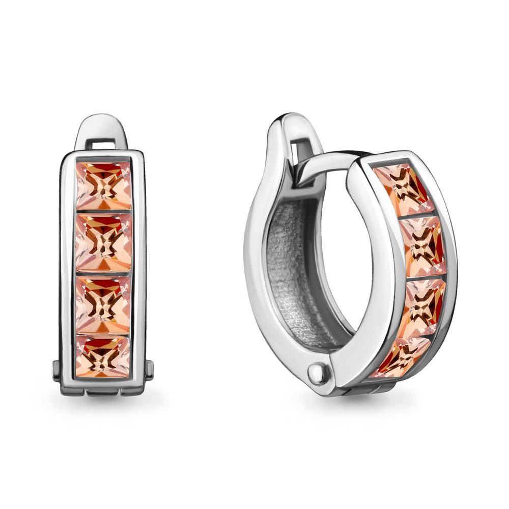 Серебряные Серьги-Кольца с фианитом AQUAMARINE (#711586)