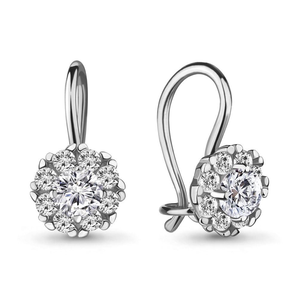 Серебряные Серьги-подвески с фианитом AQUAMARINE (#711575)