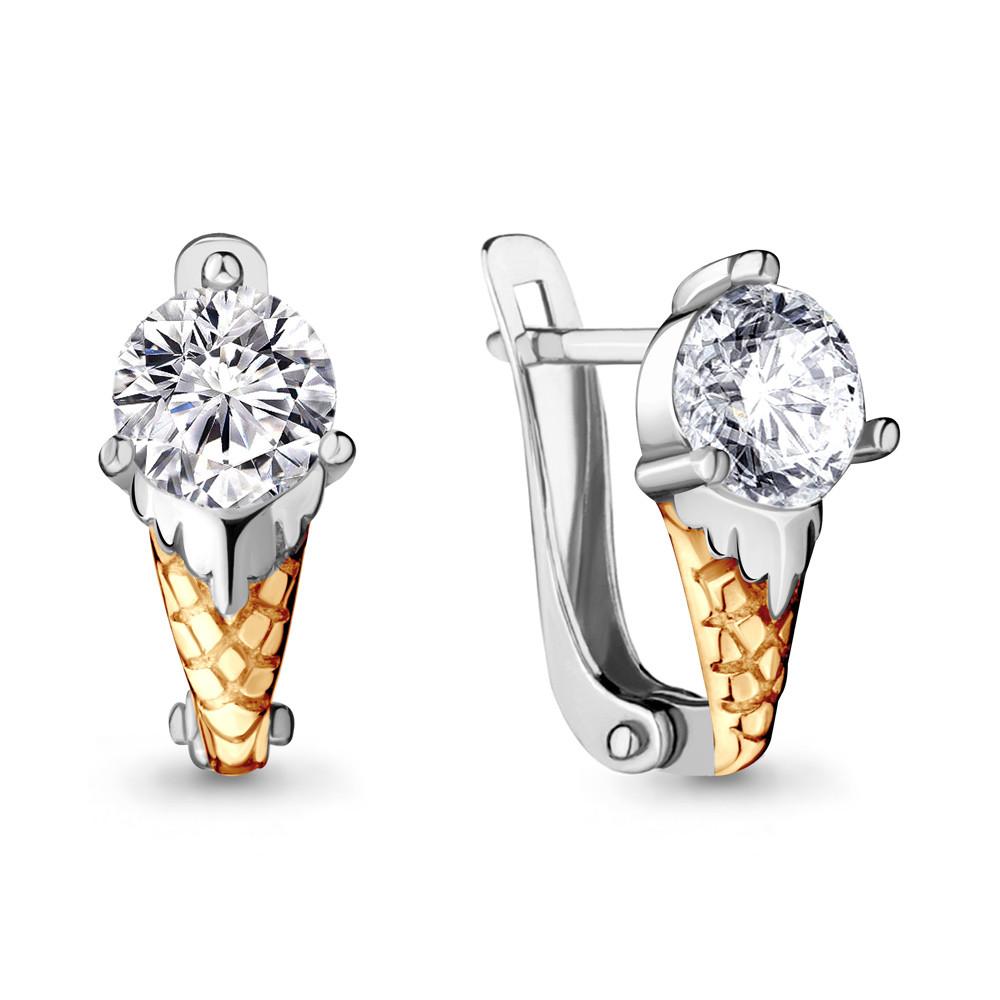 Серебряные серьги-классические с фианитом AQUAMARINE (#706466)
